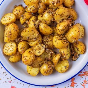 Roasted Parmesan Potatoes in a metal serving dish